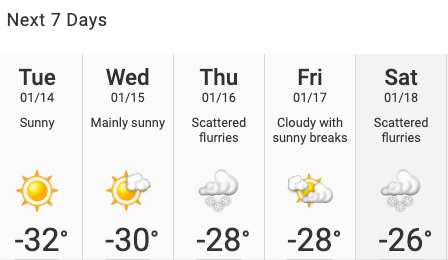 Sherwood Park weather forecast - January 2020